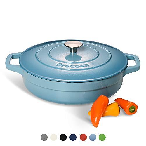 ProCook - Cocotte Basse Faitout Bas 28cm - Fonte Émaillée - Compatible Induction - Dégradé Bleu Turquoise - 3,9 L