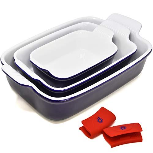 PERLLI Ceramic Baking Dish Pan Set, 3 Piece Nonstick Rectangular Bakeware Dishes Set, Classic Blue Lasagna Cookware Pans Casserole Dish, with Silicone Pot Handle Grips