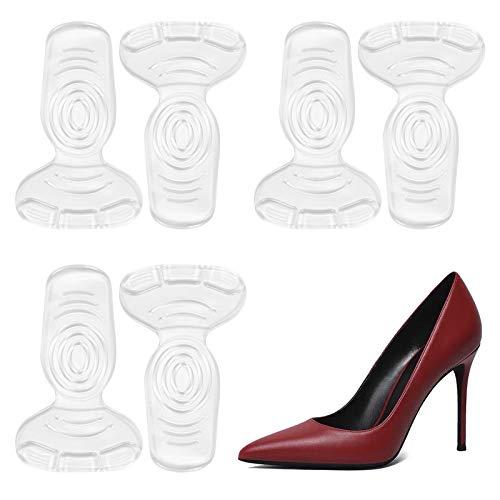 靴ずれ防止 かかとパット靴擦れ防止 かかと インソール 3セット インソール クッション サイズ調整 踵 保護 ハイヒール パカパカ防止 靴擦れ痛み緩和 滑り止め ジェルヒール ハイヒール 革靴 スニーカーに対応 T型踵 男女兼用 6枚入り (透明3足セッ