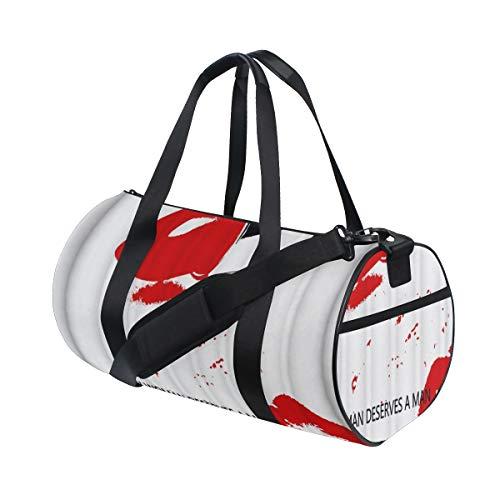 ZOMOY Sporttasche,Roter Lippenstift verlockende Druck Schwarz Werbungs Wörter auf weißem Hintergrund,Neue Bedruckte Eimer Sporttasche Fitness Taschen Reisetasche Gepäck Leinwand Handtasche