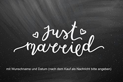 Crealuxe Fussmatte Just Married - (mit Wunschname und Datum) - Fussmatte, Bedruckt - Türmatte Innenmatte Schmutzmatte lustige Motivfussmatte