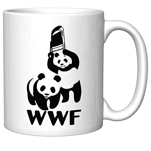 WWF Steel Chair Panda Parody (WWE) Funny Coffee Mug (Old Version)