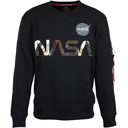 Alpha Industries Uomo Felpa Riflettente NASA, Nero, XXL