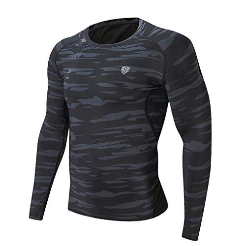 emansmoer Hommes Camo Séchage Rapide Élastique Training T-Shirts Compression Running Tee Shirts Cyclisme Base Layer Vêtement De Sport Fitness Gym Tops Costume (L, Gris)