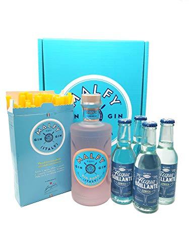 Gin Malfy confezione regalo - Malfy Gin Rosa 70cl, 4 Tonica Recoaro 25cl e Cannucce pasta Garofalo