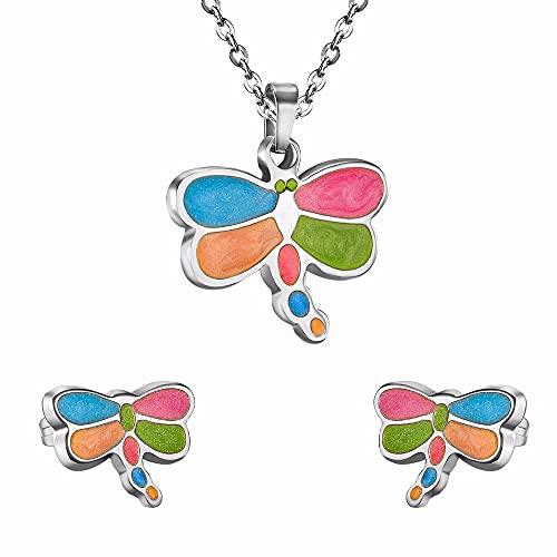 HMANE Colorido Collar con Colgante de libélula Inoxidable Dulce Sistemas de joyería para Mujeres/Collares de niña