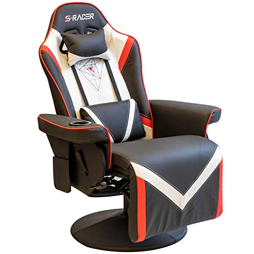 Homall Computer Racing Style Pu Leather Ergonomic Adjusted Reclining Video Gaming Single Sofa Chairwith Footrest Headrest and Lumbar Support (Black)