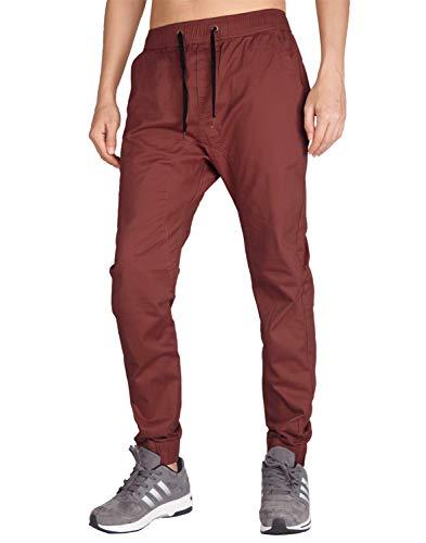 ITALYMORN Joggers Pants Uomo Baggy Casuale Rosso Pantaloni Arrampicata (L, Borgogna)