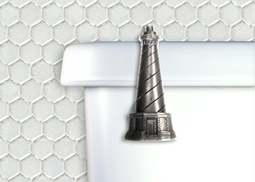 Functional Fine Art Lighthouse Toilet Flush Handle Front Mount in Satin Pewter