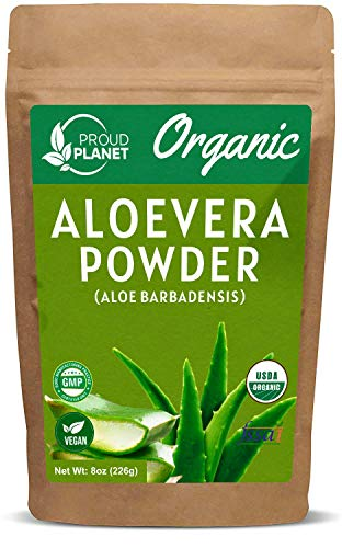 Organic Aloe Vera Powder for Hair & Face   Aloe Barbadensis   AloeVera Extract USDA Certified by Proud Planet (8 Ounce)