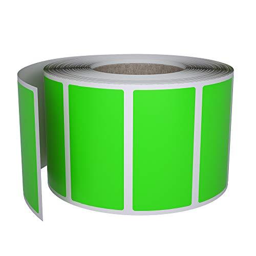 Royal Green Rollo de 500 Etiquetas Adhesivas Verde Neón Rectangulares (4 x 1,9 cm) Pegatinas Brillantes para Escribir en Superficie (40 x 19 mm)