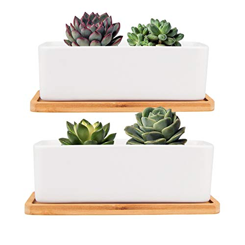 FairyLavie White Ceramic Succulent Plant Pots - 16CM Rectangular Ceramic Planters, Small Cactus Container, Bonsai Pots, Flower Pots with Drainage Hole, Bamboo Tray, Set of 2