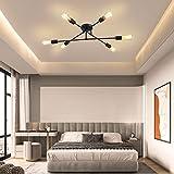 MOONSEA Lámpara de Techo Vintage con 6 Luces E27, Lámparas de techo en Metal Industrial para...