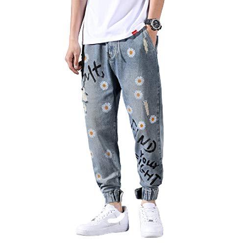 Pantalones Vaqueros para Hombre Tendencia de Verano Impresión de Personalidad Pantalones Vaqueros recortados Harlan Pantalones Vaqueros Sueltos Casuales de Pierna Recta XL