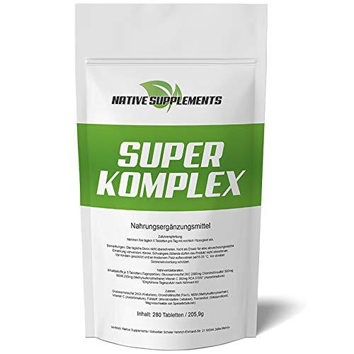 Super Komplex Glucosamin + Chondroitin + MSM + Vitamin C Kombination 280 Tabletten - XXL Bulk - 3000mg Hochdosiert Ulra Stark Bestes Nahrungsgänzungsmittel für die Osteo-Gelenkpflege