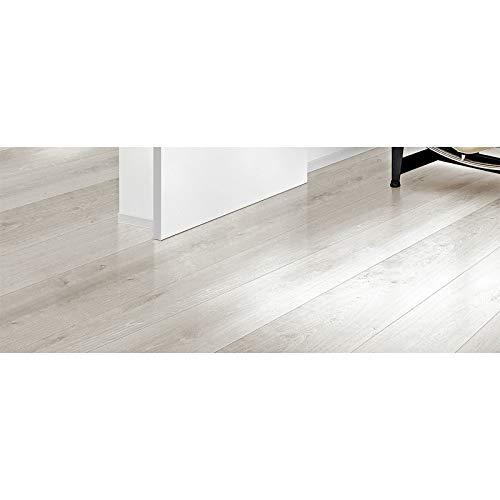 HTI-Line Selbstklebender Vinylboden PVC- Boden Preis pro m² 12,29 Euro Bodenbelag Dielen Vinylfussboden Laminat Hellgrau, Weiß