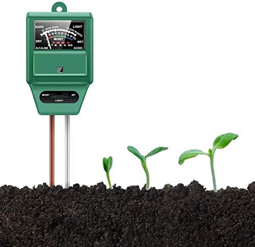 Auralto Soil PH Meter, Soil Moisture/Light/pH Tester Gardening Tool Kits For Plant Care, 3-in-1 Soil Test Kit Great For Garden, Lawn, Farm, Indoor & Outdoor Use (Green)