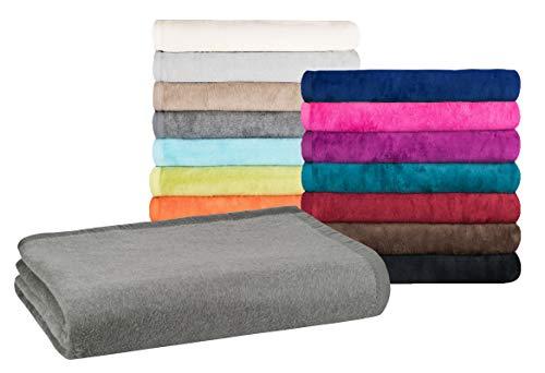 Moon - Classic Kuscheldecke 150x200 cm anthrazit Wolldecke einfarbig, Leicht zu pflegene Baumwollmischung