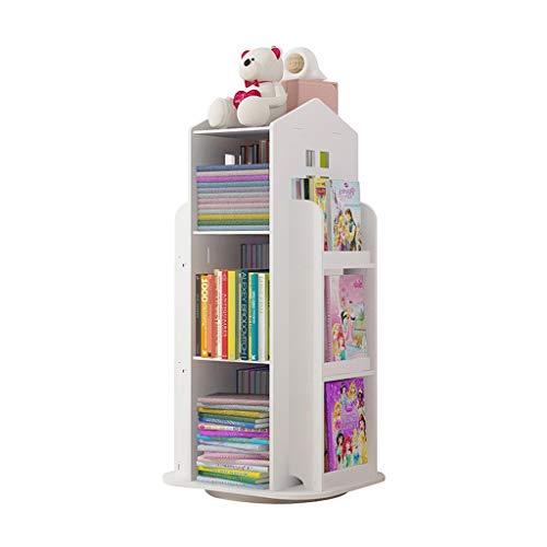 ZNZN Estantería libreria Estantería para Niños Giratoria De 3 Niveles De 360°,Estante De Almacenamiento De Pie para El Hogar/Oficina Estanterías Blancas Estante para Libros