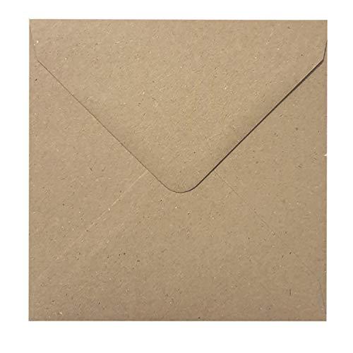 Briefumschläge aus Kraftpapier, 130 x 130 mm, Vintage-Stil, Braun, 100 Stück