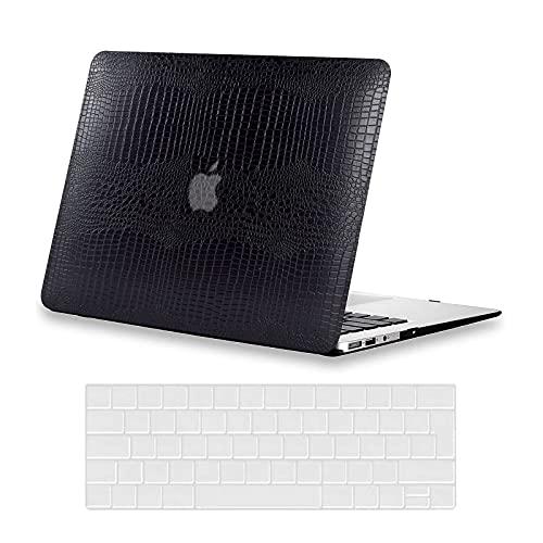 AUSMIX Hülle für MacBook Pro 13 Zoll 2020 2019 2018 2017 2016 Modell M1 A2338 A2251 A2289 A2159 A1989 A1706 A1708 Hülle, Premium Leder Schutzhülle Hartschalenetui und Tastaturabdeckung, Leder schwarz
