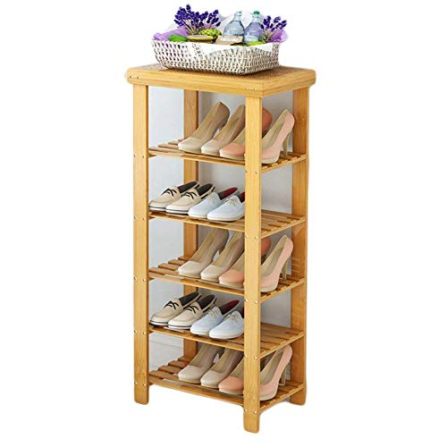 Jkckha Soporte de flor de madera de bambú zapatero, zapatero, banco de zapatos de múltiples capas de madera maciza Simples Habitación Función montar, Puerta de entrada 80x28x99cm plataforma -A (31x11x