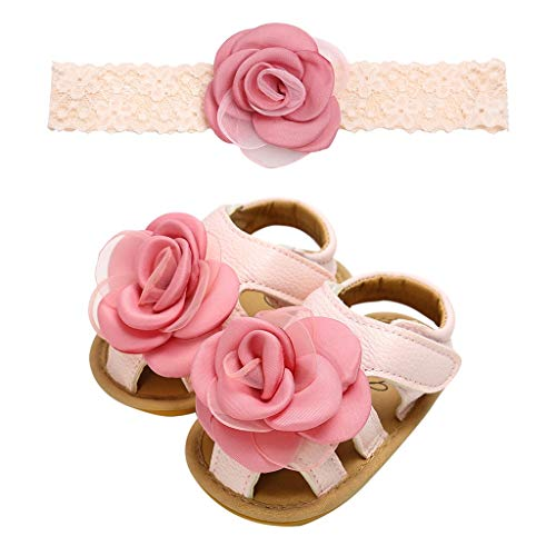 ❤️ Sunbona Baby Girls Kids Toddler First Walkers Kid Shoes Summer Rose Lace Cuty Fashion With Hairband Flats Sandals