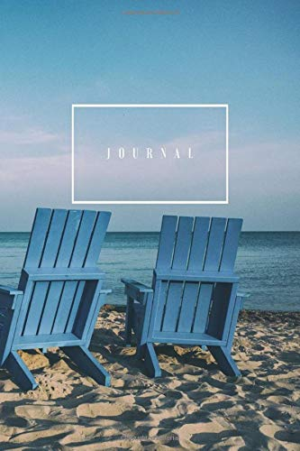 Notebook Journal: Lined Pages - Two Chairs on Beach Wrap-Around Cover Art Design - 120 Pages – Medium (6 x 9 inches)
