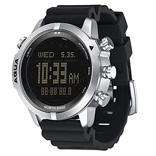 WWJJLL Reloj De Buceo para Hombre, Inteligente 100M Reloj Impermeable Deportes Al Aire Libre Buceo Libre Modo De Brújula Reloj Multifunción Regalo De Cumpleaños para Hombre,Negro