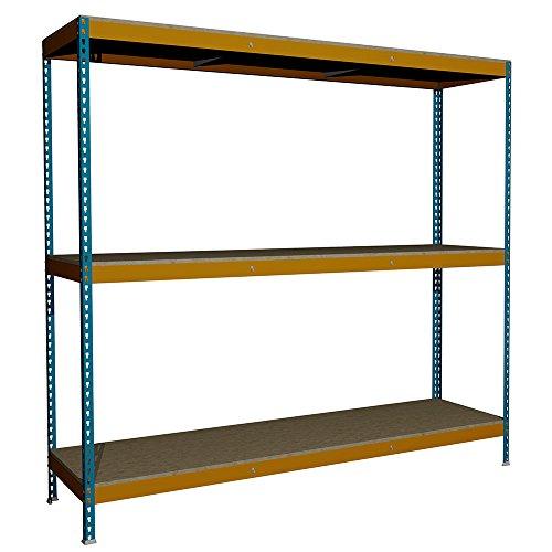 Estantería sin Tornillos Media Carga J600 con 3 niveles. Med. 2000x2100x600 mm. Color Azul/Naranja