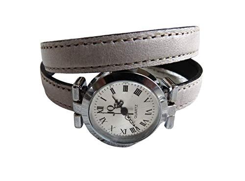 Armbanduhr Damen zum Wickeln aus Leder in grau greige, Geschenk