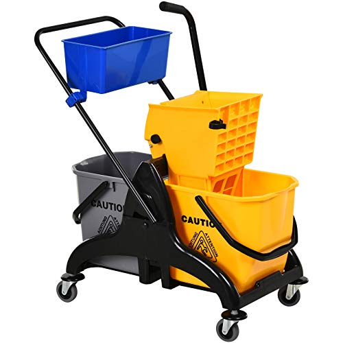 HOMCOM 13.7 Gallon Mop Water Bucket Wringer Cart with Easy to Use Side Press Wringer, Smooth Wheels, Mop-Handle Holder