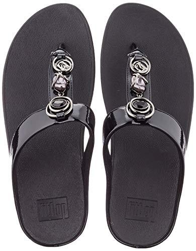 Fitflop Fino Embellished Toe-Thongs, Sandalias Planas Mujer, Negro, 39