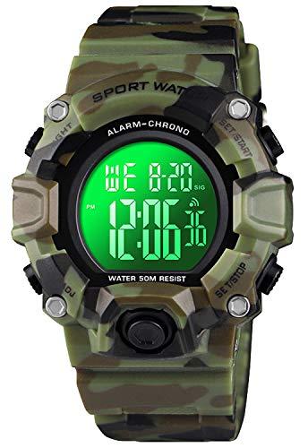 Kid Watch for Boy Girl Child Digital LED Sport 50M Waterproof Electronic Analog Quartz Watches Gift (11605 CamouflageGreen)