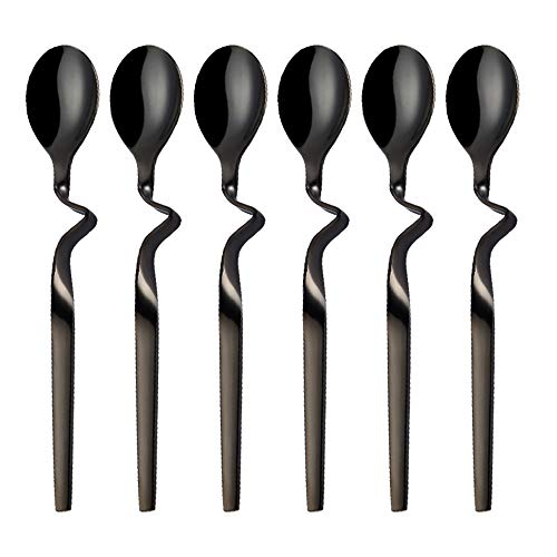Black Demitasse Espresso Spoon Seeshine Stainless Steel Jam Honey Spoon Coffee Stir Spoon with Curved Handle Set of 6