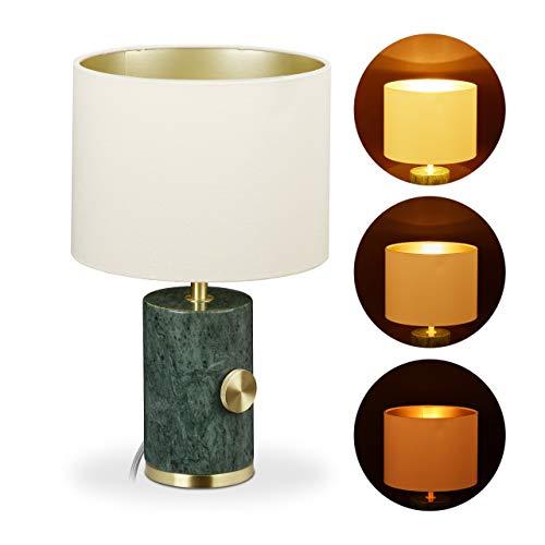 Relaxdays Tischlampe Marmor, Stoffschirm, dimmbar, E14, Tischleuchte Wohnzimmer, H x D: 34,5 x 21 cm, grün/gold/beige, Rot, 10032271