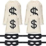 Robber Costume Set,Include 4 Pieces Dollar Sign Money Bag Canvas Bags,4 Pieces Black Eye Masks Halloween Costume for Halloween Cosplay Party Supplies