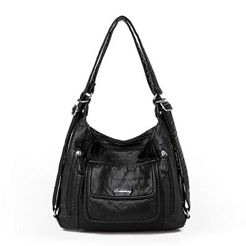 BUKESIYI Damen Tasche Rucksack Handtasche Frauen backpack Klein Anti Diebstahl Schulrucksack Laptop Weekender PU Leder CCDE77150 Schwarz