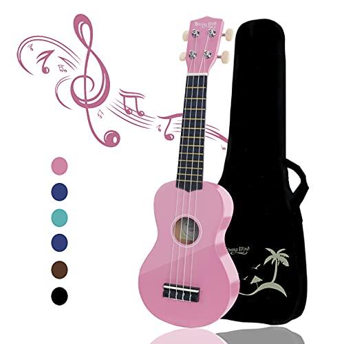 Strong Wind Ukelele soprano para principiantes Guitarra para niños de 21 pulgadas y 4 nylon cuerdas Un regalo de instrumento musical adecuado para niños amigos y principiantes Con bolsa (Rosado)