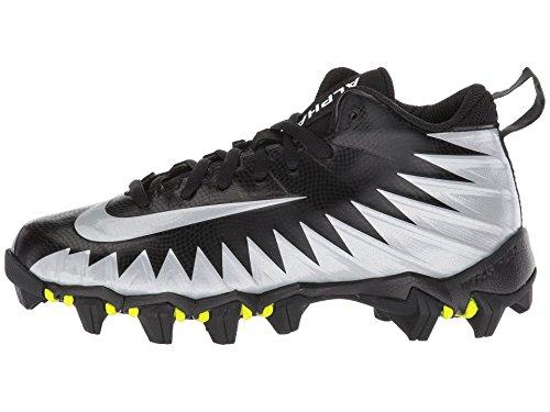 Nike Kid's Alpha Menace Shark BG Football Cleats (1 M US Little Kid, Black/White/Metallic Silver)