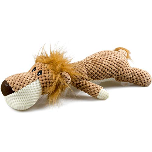 WildWave Dog Plush Toys Dog Chew Toys Pet Squeaky Toys with Squeaker, Interactive Chewing and Durable Cute Soft Toys for Puppy Small Medium Dogs Teeth Cleaning Training(Lion)