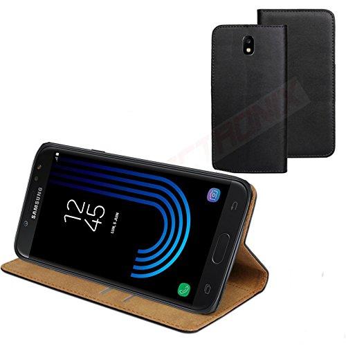 MOELECTRONIX ECHT Leder Buch Klapp Tasche Schutz Hülle Flip Hülle Etui passend für Samsung Galaxy J3 2017 DuoS SM-J330F/DS
