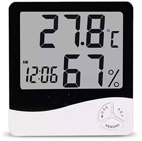 JEVAL LCD Digital Display - Backlight Battery Operated - Tabletop & Wall Mounted Clock with Automatic Sensor - Date & Temperature 10.2 x 9.2 x 2.1 (White & Black, ABS, Pack of 1 Pcs)
