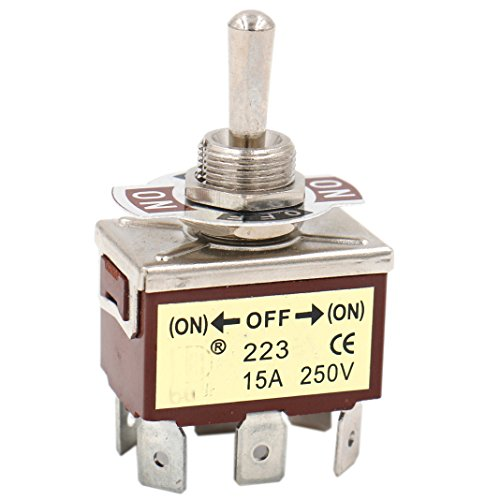 heschen Metal Toggle Switch DPDT momentáneo (on)/Off/(on) 3 Posición 15 A 250 VAC 6 Tab Terminal CE