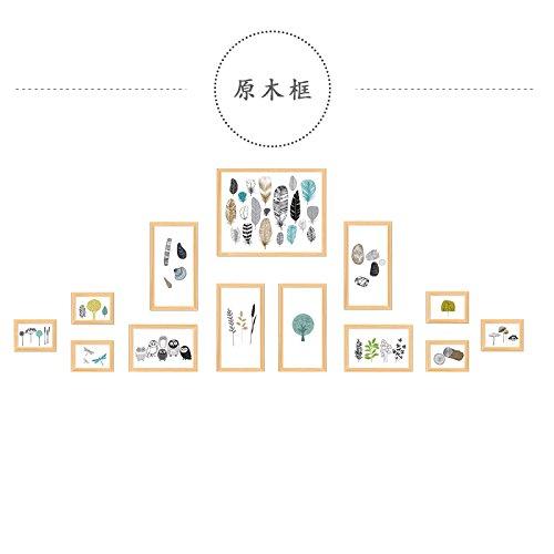 Fotolijst*Het Nordic Light schilderij? Creatieve combinatie van originele foto muur frame muur woonkamer nieuw huis decoratie, licht geel houten kist