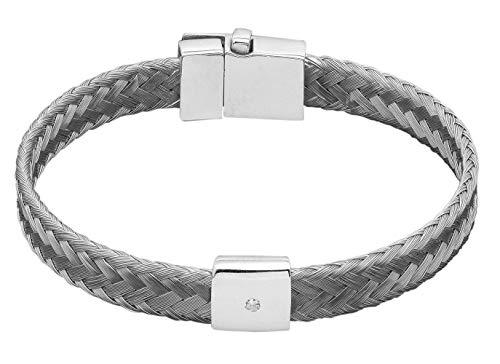 Karthe Jewels Stemond S Techno Line - Pulsera para hombre y mujer, de plata 925, tejido de acero hipoalergénico, diamante fabricado en Italia plateado