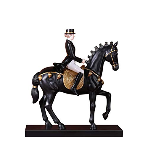 LIUSHI Escultura de Estatua de Caballero de Resina, Figura Decorativa Retro artesanías Estatua Decorativa Creativa H29CM para Sala de Estar Biblioteca Oficina