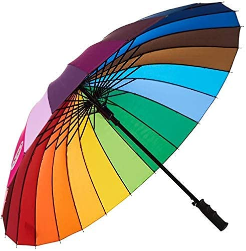 Flyson Rainbow Umbrella Windproof Upside Down Reverse Double Layer Inside Out Folding Multicolor Polyester Umbrella for Men and Women - Upgraded Auto Button (C)
