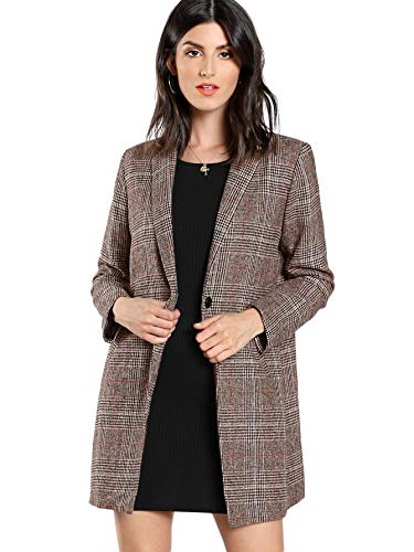 SheIn Women's Lapel Collar Coat Long Sleeve Plaid Blazer Outerwear Coffee Small