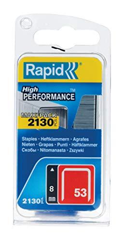 Rapid Tackerklammern Typ 53, 8mm Klammern, 2.130 Stk., Feindrahtklammern für Holz und Stoffe